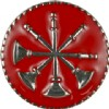 View Collar Device  Four Bugles Crossed on Disk with Red Enamel Silver  1 PAIR